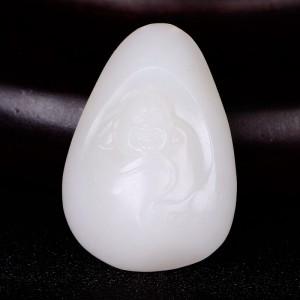 国家级玉雕大师【陶虎】工作室作品 和田玉羊脂白玉挂件笑佛